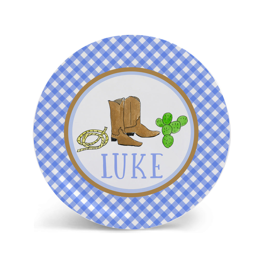 cowboy boots melamine plate personalized for boys western