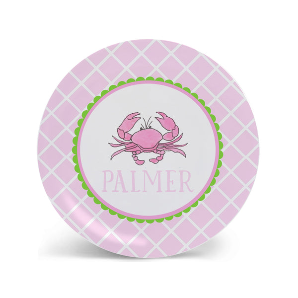 pink crab plate for children melamine