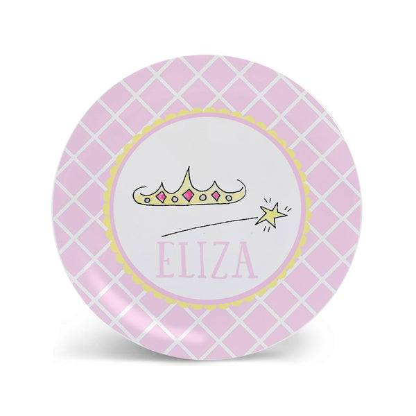 crown and wand princess plate melamine personalized