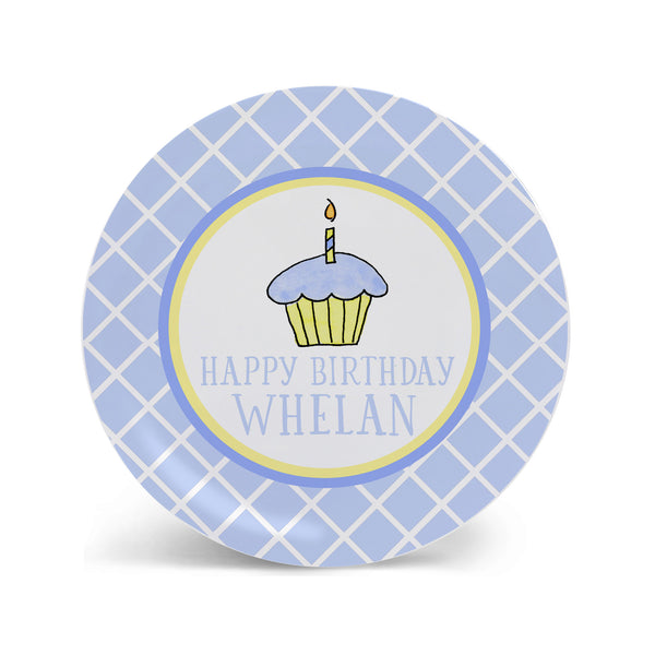 Birthday Cupcake Blue Personalized Kids Plate