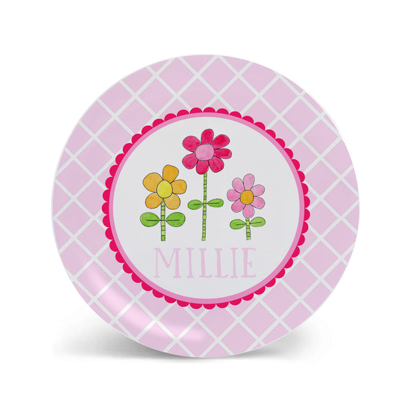 Daisies personalized melamine girls plate