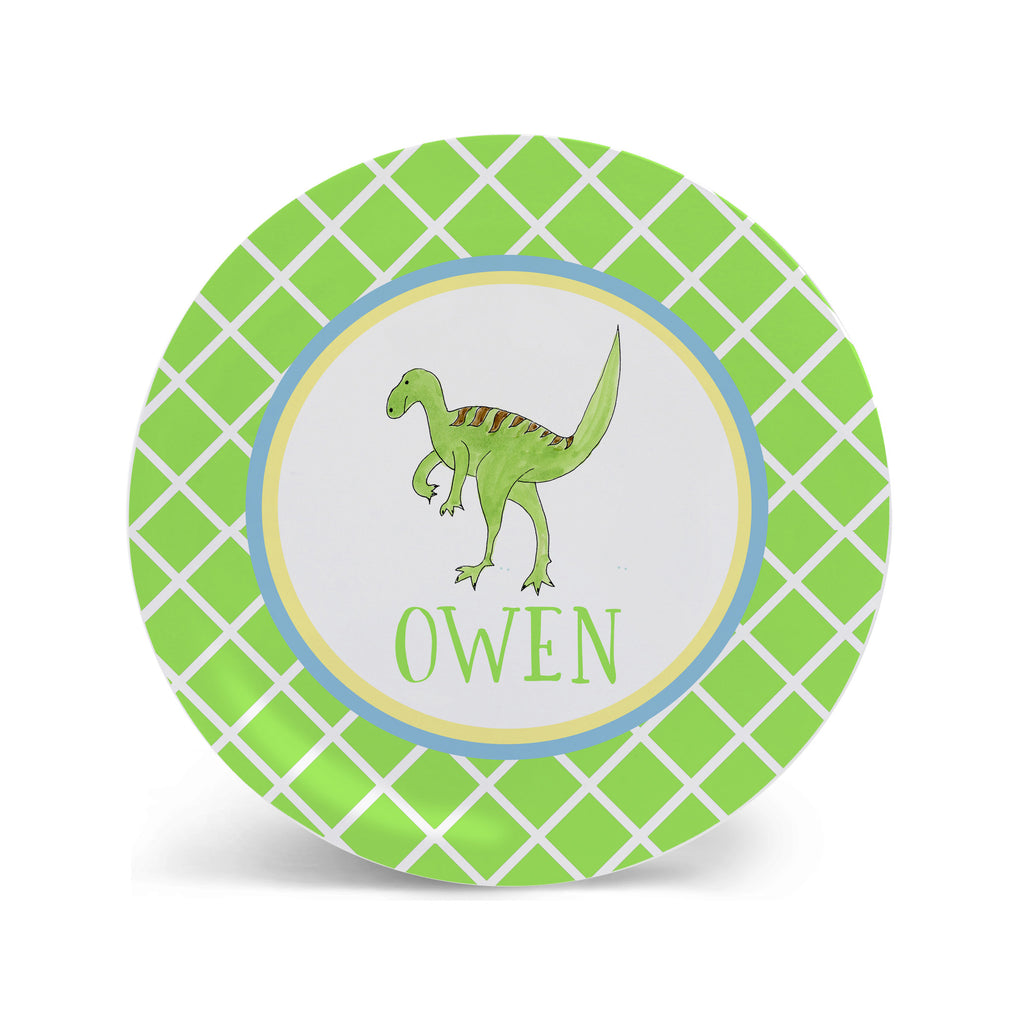 dinosaur plate melamine personalized for boys