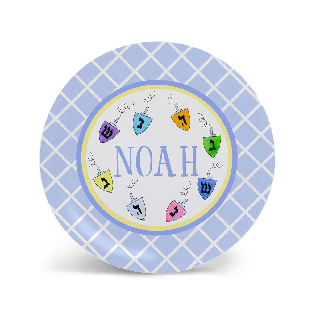 kids hanukkah plate with dreidels melamine personalized