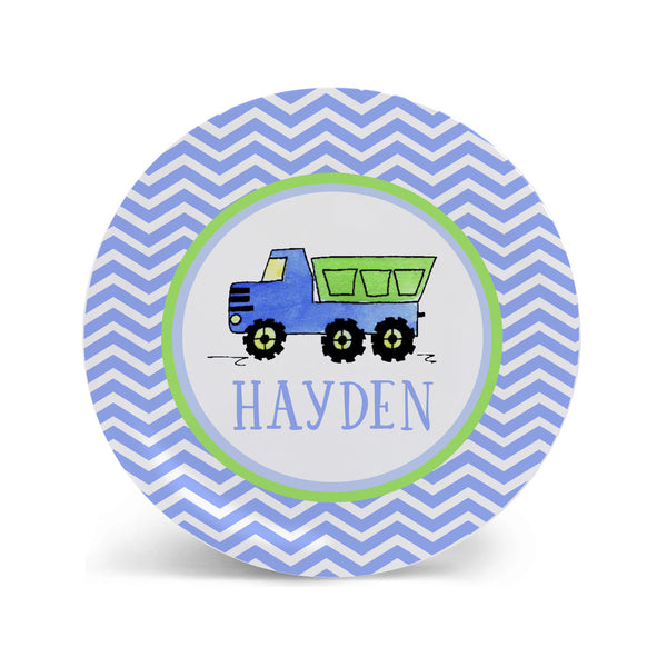 Dump truck melamine plate for boys personalized