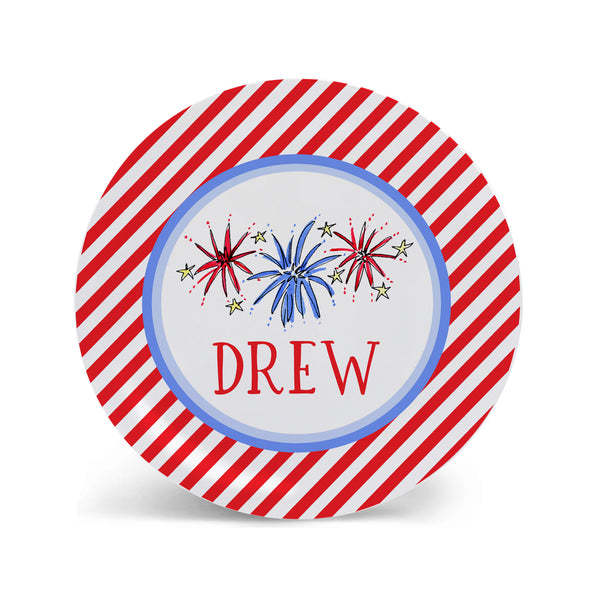 Fireworks Personalized Melamine plate for Kids Fourth of July Independence Day