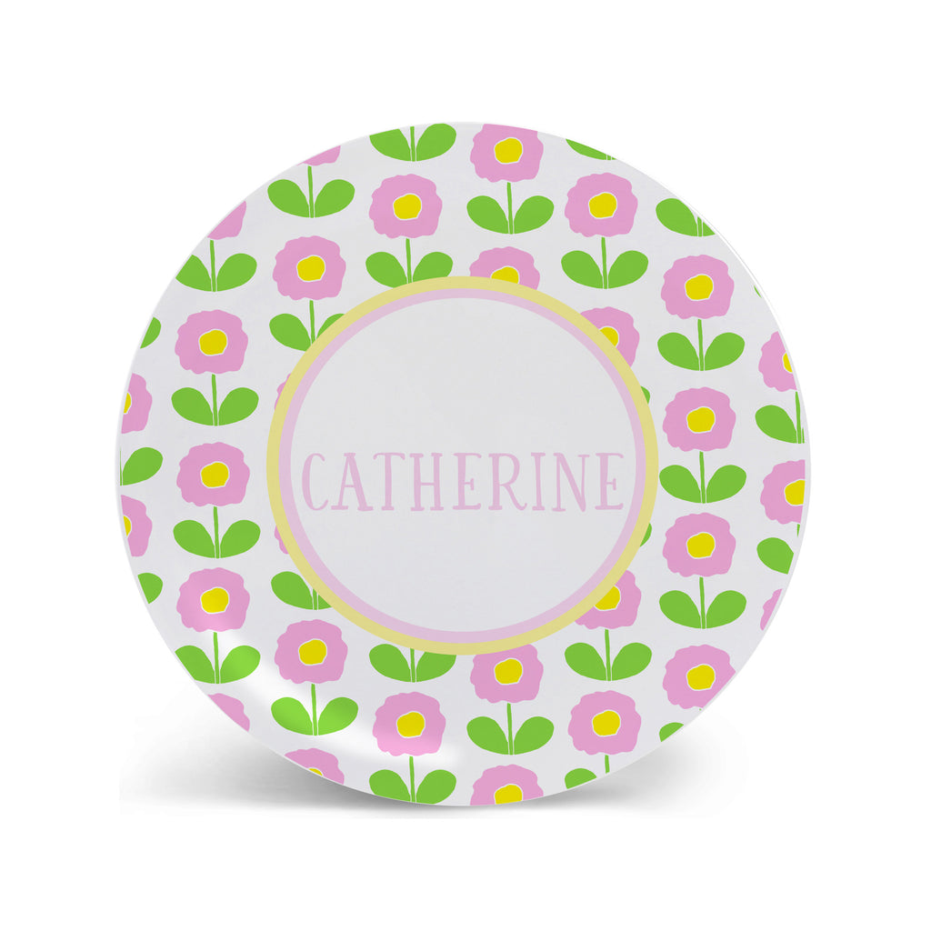 floral melamine plate personalized for girls