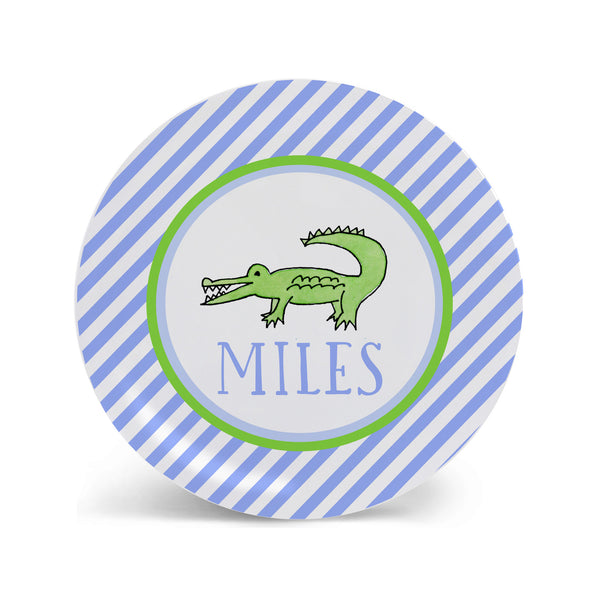 Alligator Blue Personalized Kids Plate