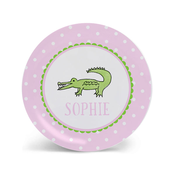 Alligator Kids Plate in Pink