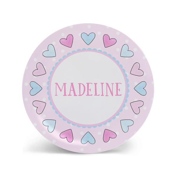 Hearts in Pink and Blue Personalized Kids Plate, Bowl, and Cup Set | Valentine Childrens Dishes