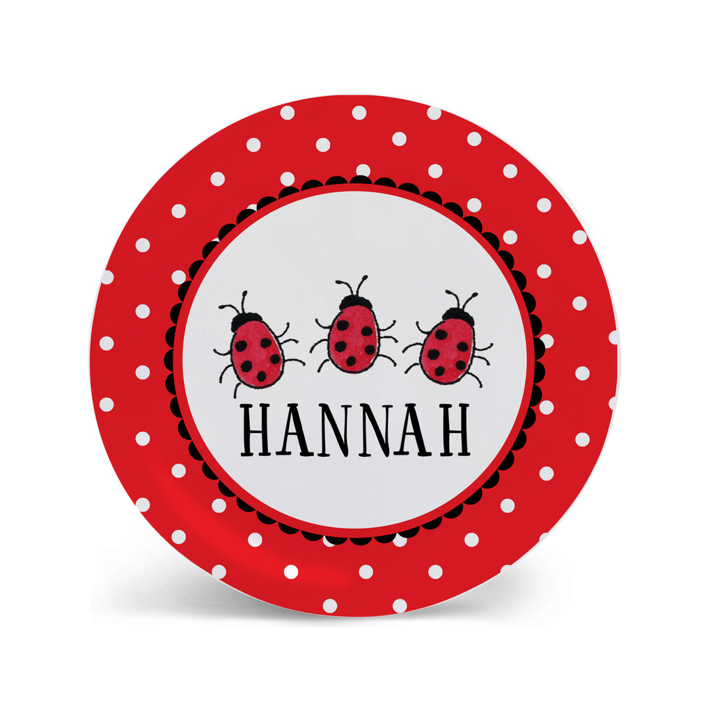 lady bugs plate melamine for kids girls