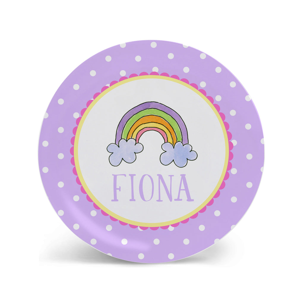 Rainbow Melamine personalized plate for kids girls