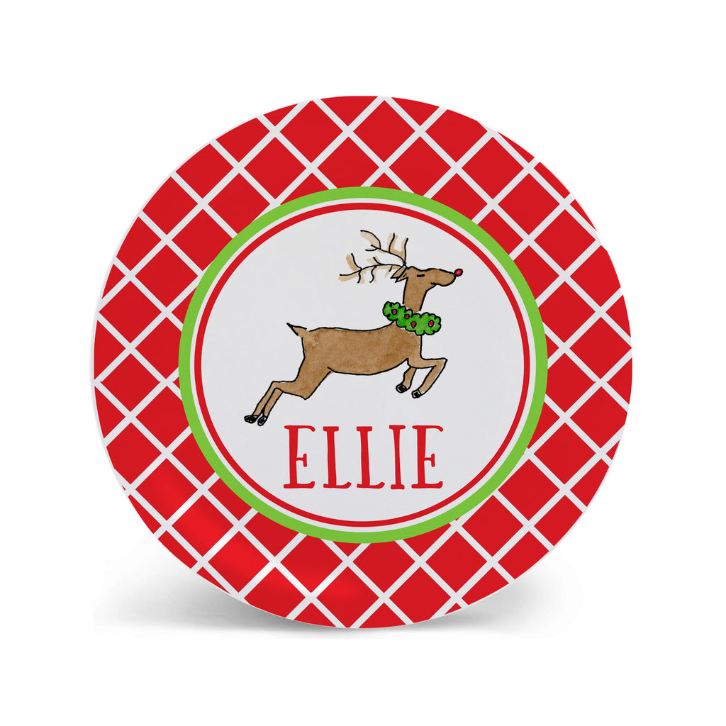 reindeer personalized melamine Christmas plate for kids Cookies for Santa