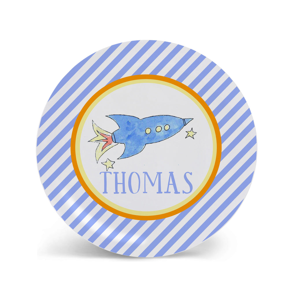 rocket melamine personalized plate for kids space ship