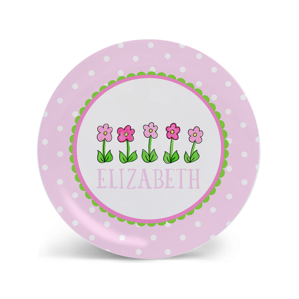 row of flowers melamine personalized plate for kids