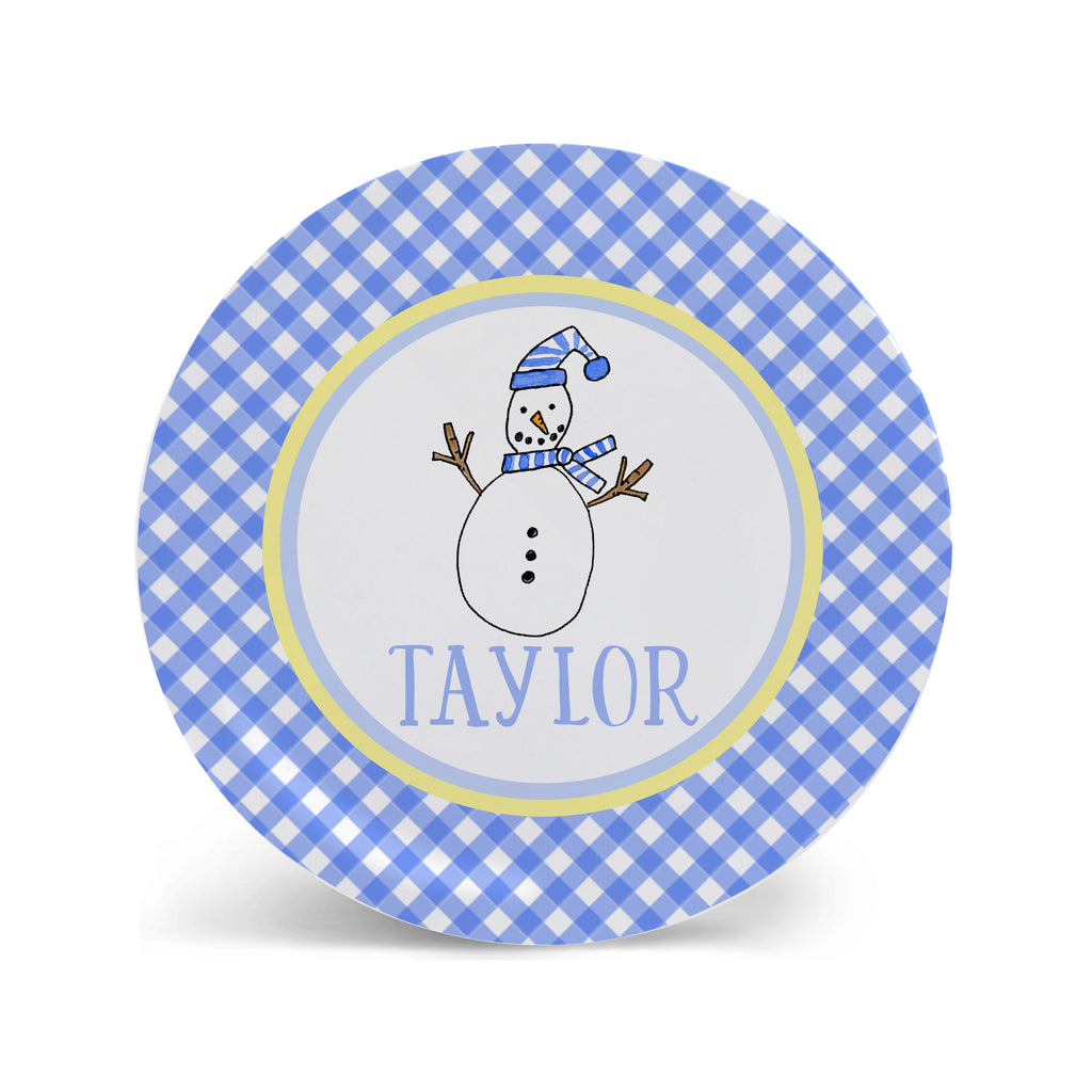 snowman personalized melamine Christmas plate for kids Cookies for Santa