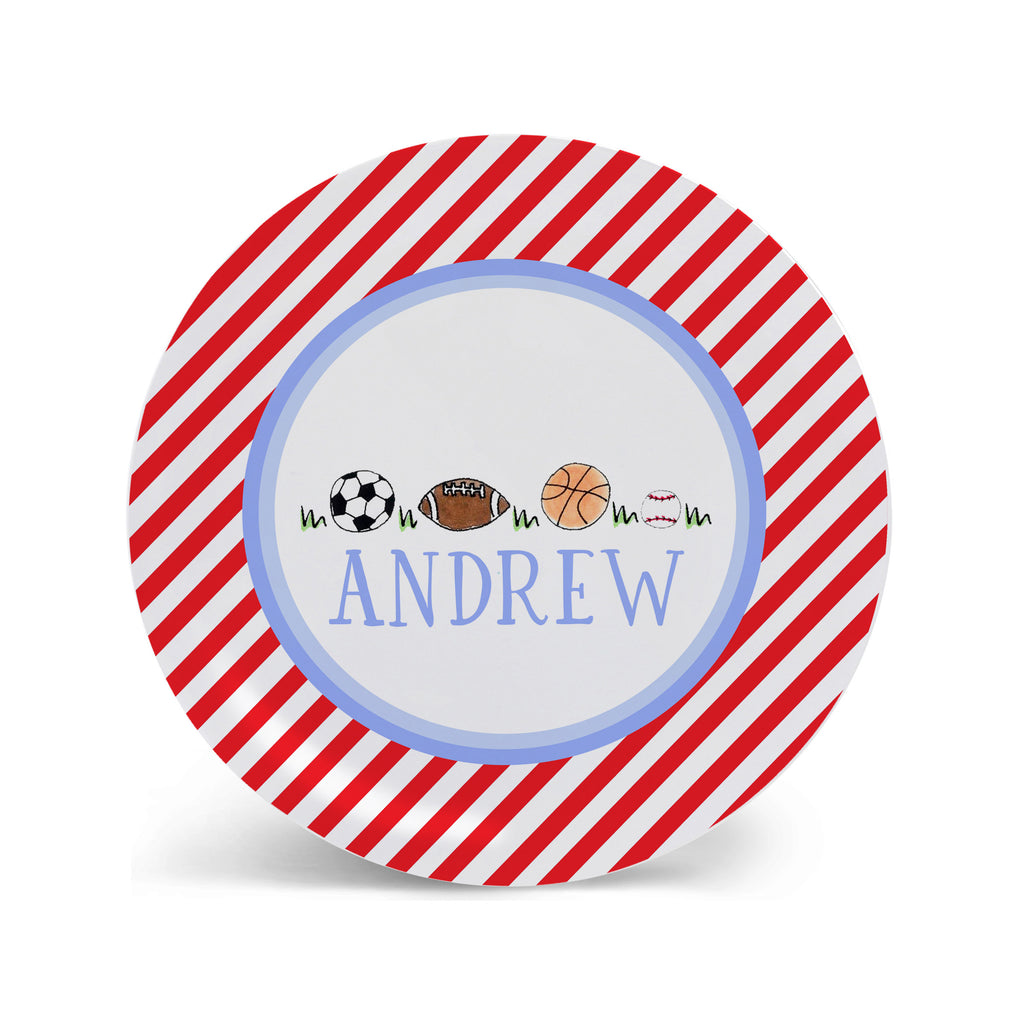 sports balls melamine personalized plate for kids