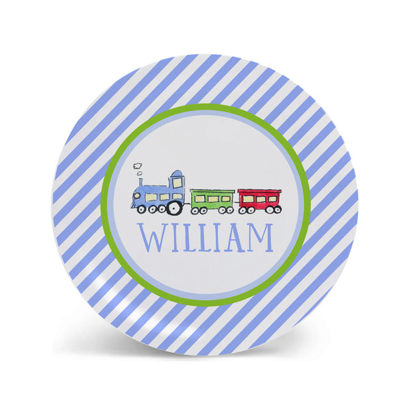 train melamine personalized plate for kids