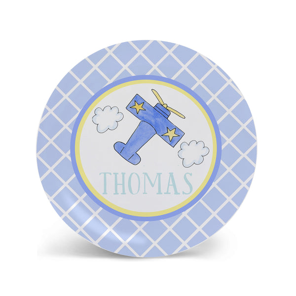 Personalized Melamine Airplane Kids Plate