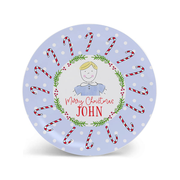 boy christmas plate personalized melamine bowl placemat holiday custom