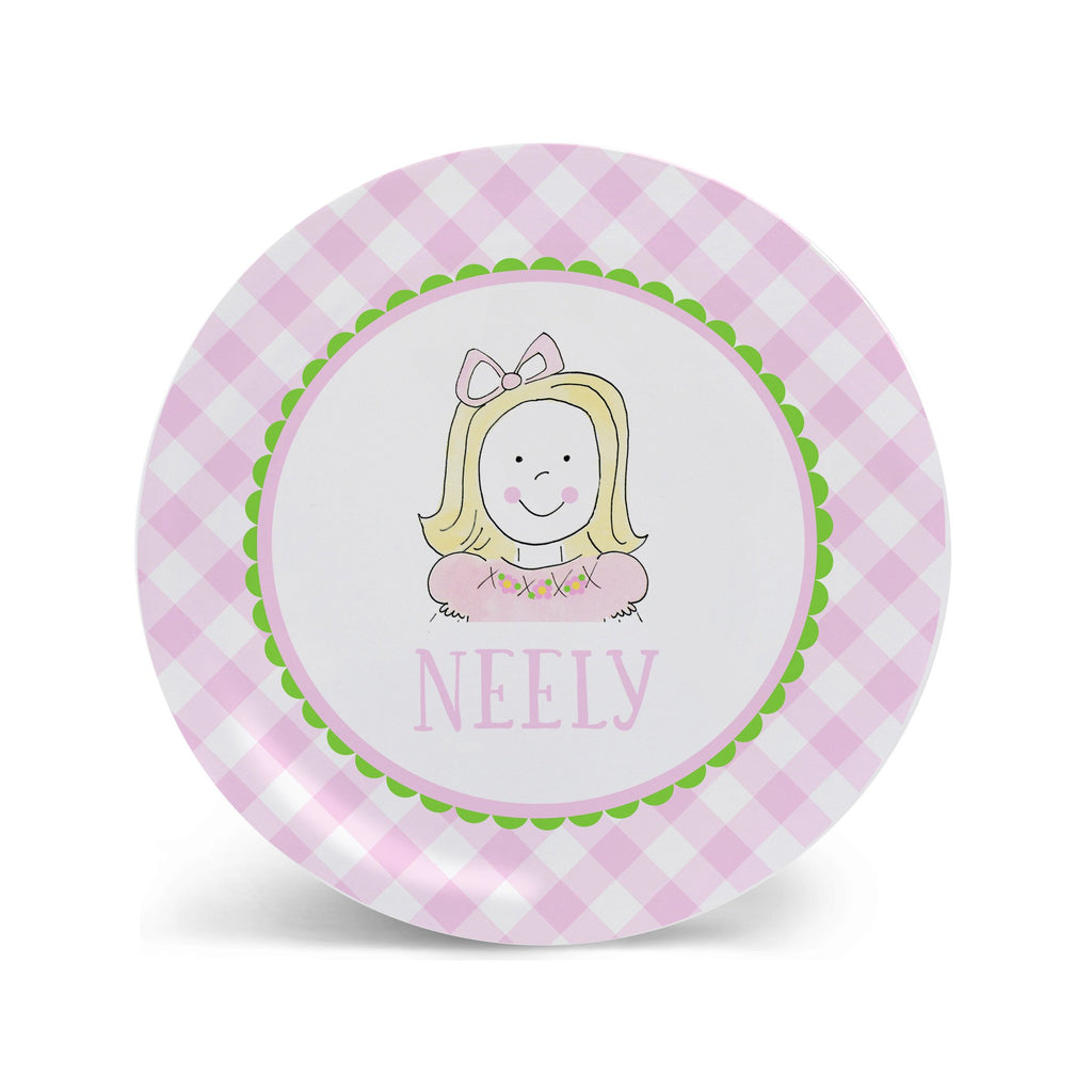 Custom Girl Face personalized melamine plate