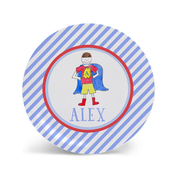 super hero personalized melamine plate for boy kids