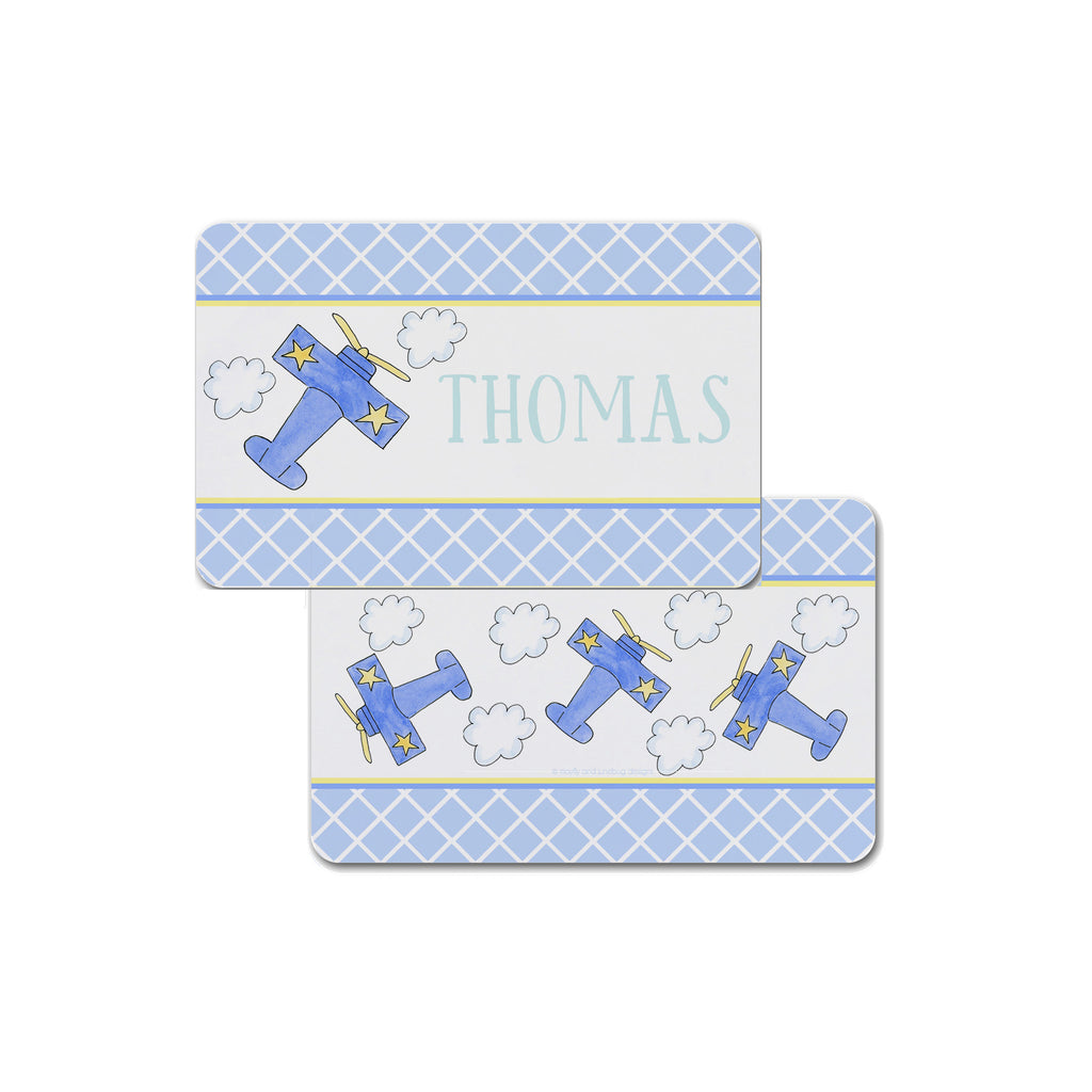 Personalized Kids Placemat in Airplane Pattern