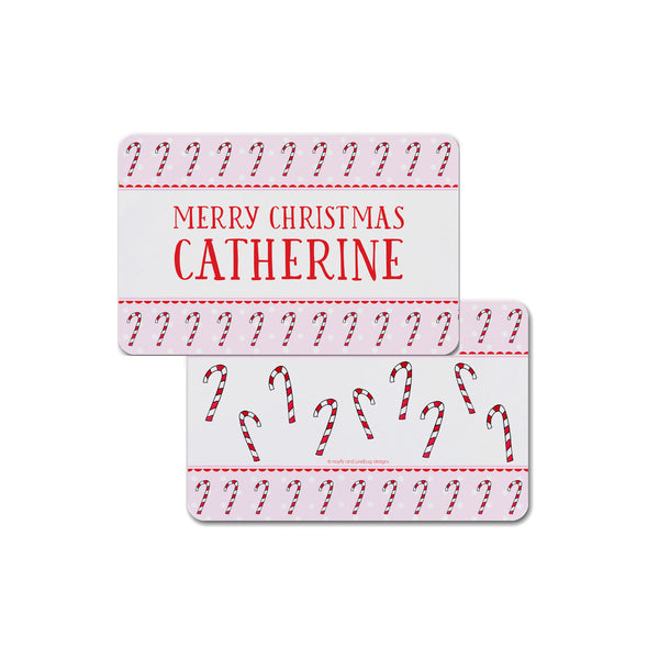 Candy Canes Personalized Kids Placemat in Pink