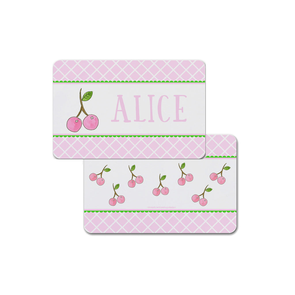 Pink Cherries Personalized Kids Placemat