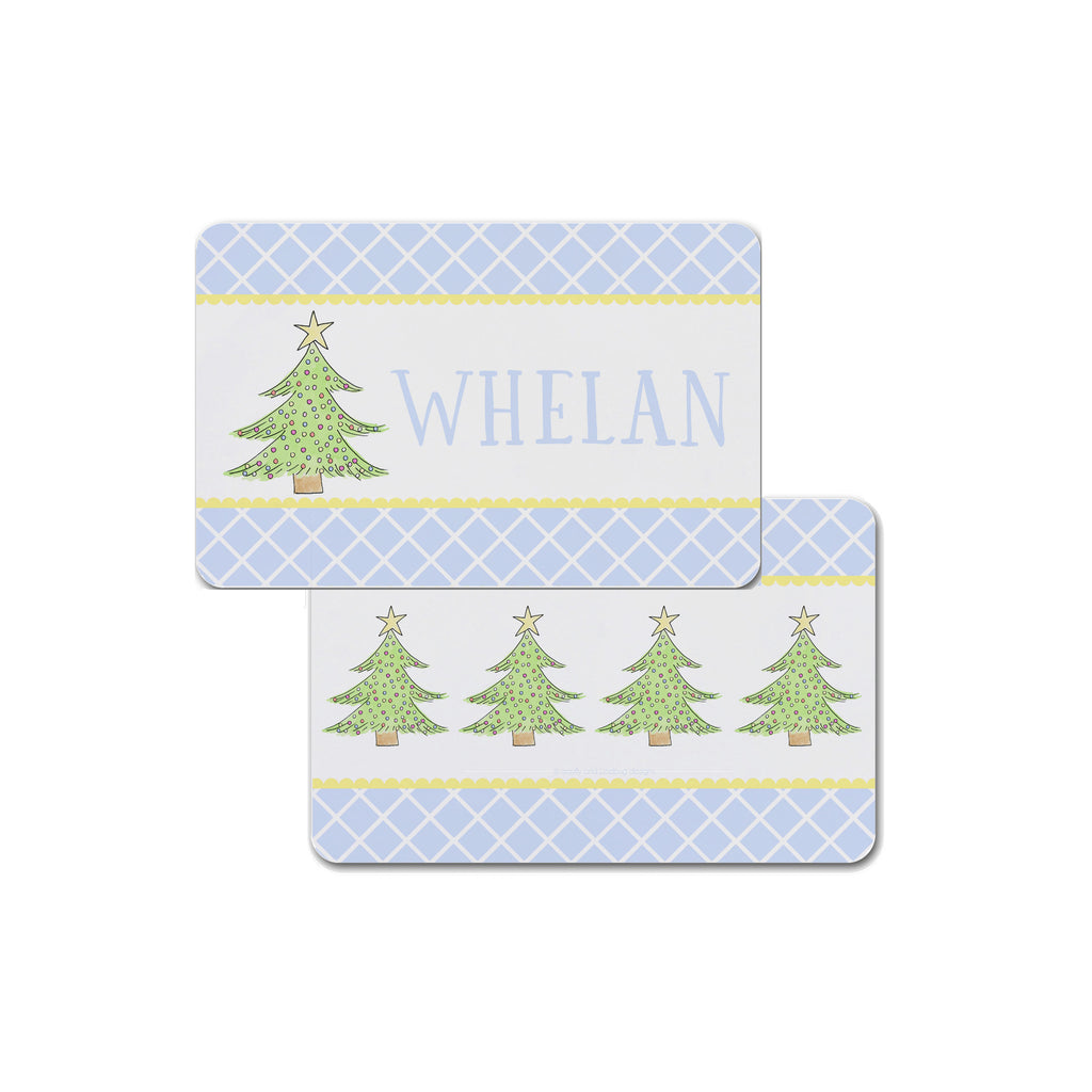 Personalized Kids Christmas Tree Placemat in Blue