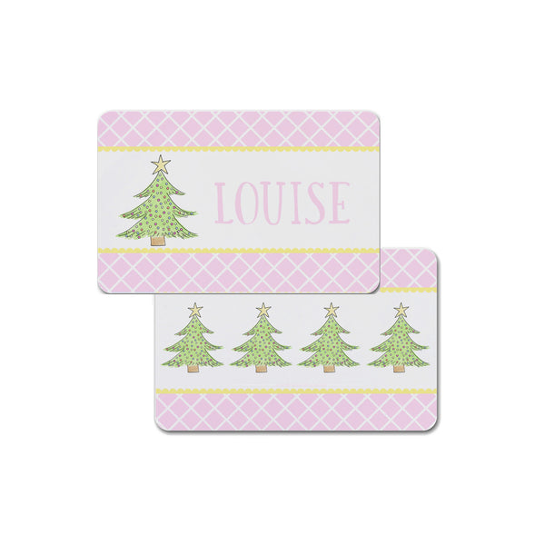 Kids Christmas Tree in Pink Placemat