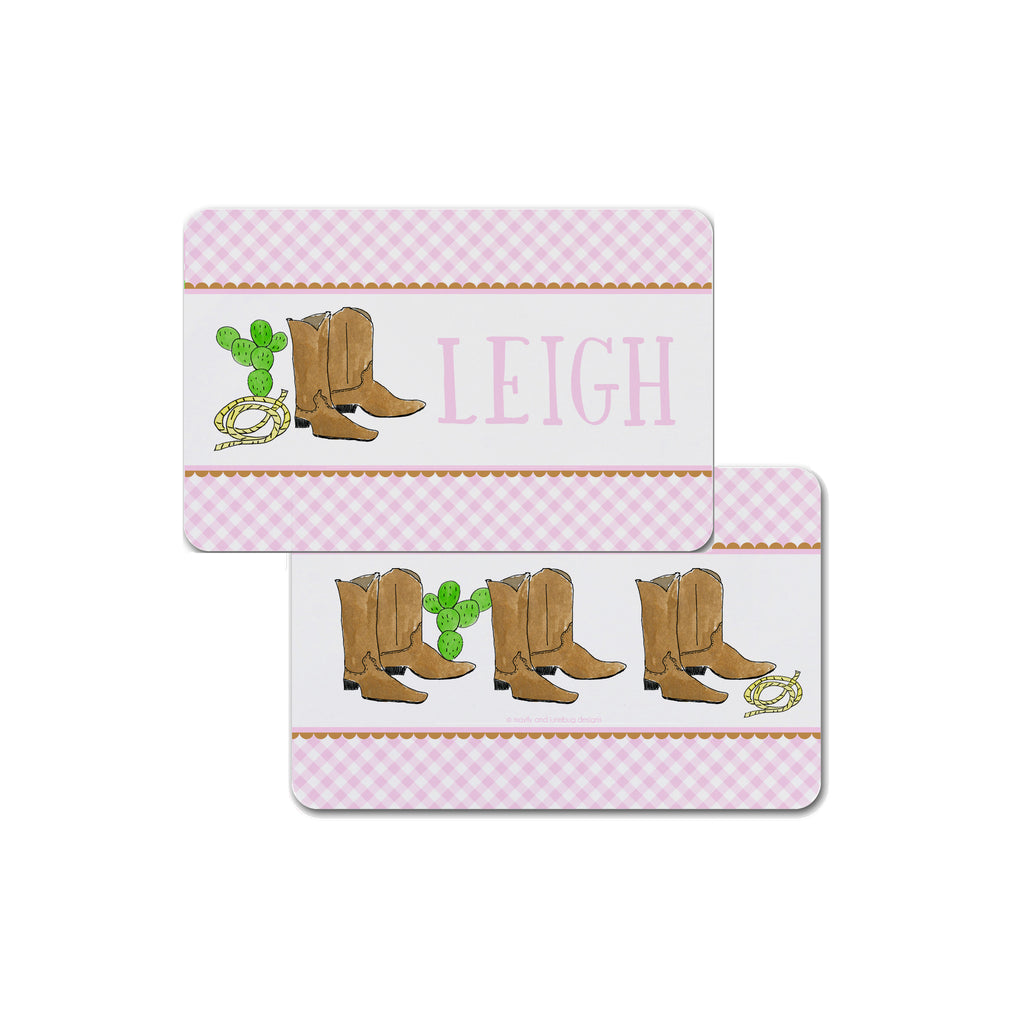 Cowboy Boots Personalized Kids Placemat in Pink