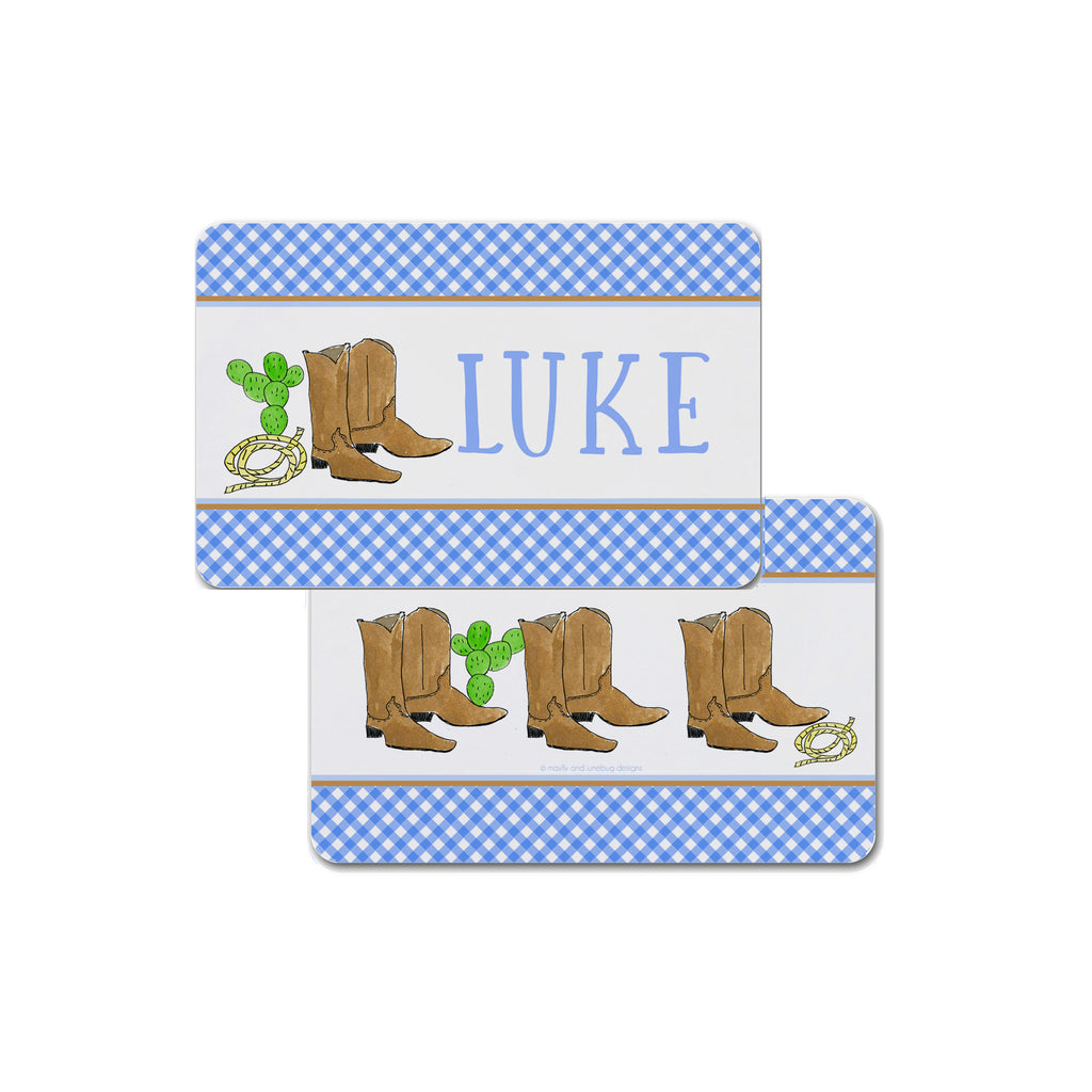 cowboy boots placemat personalized for boys western place mat