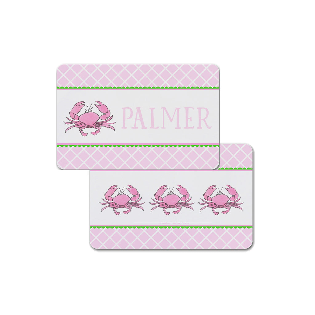 pink crab childrens placemat for kids