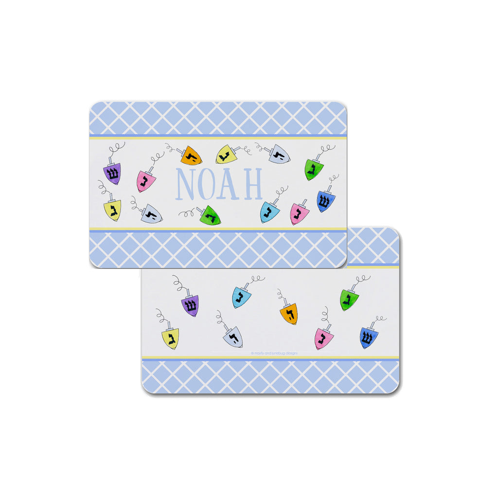Hanukkah placemat personalized for kids Chanukah