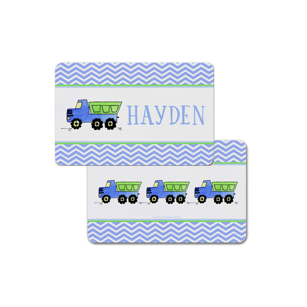 dump truck placemat personalized