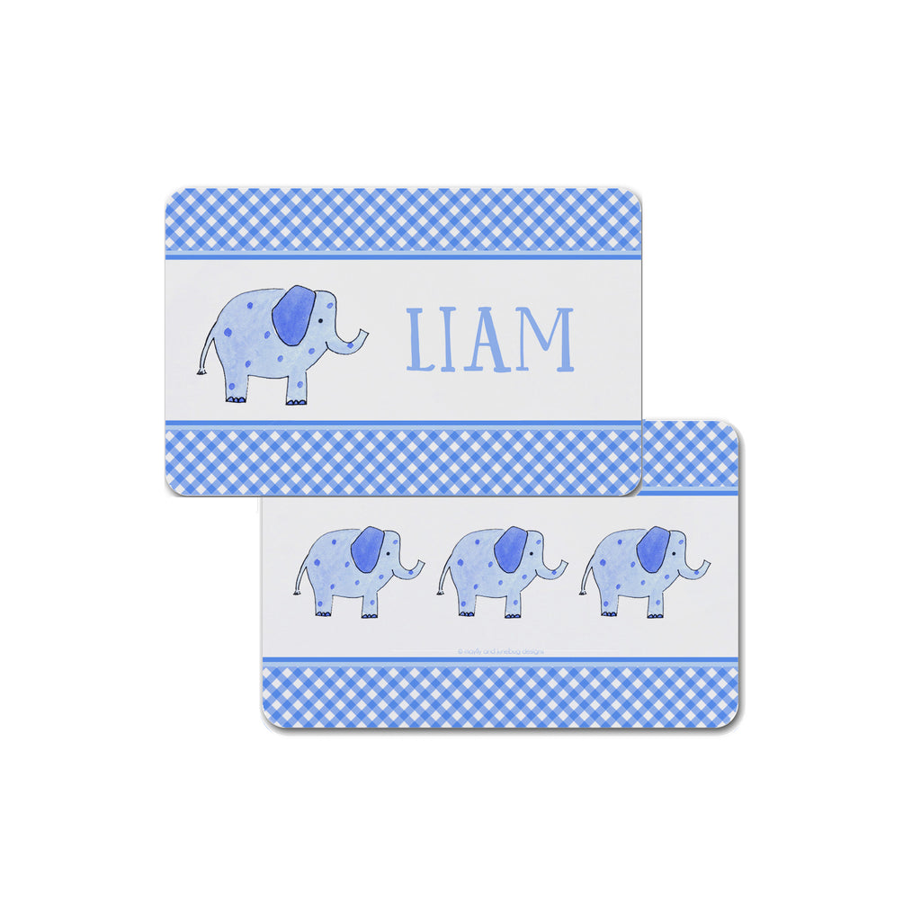 elephant kids placemat personalized