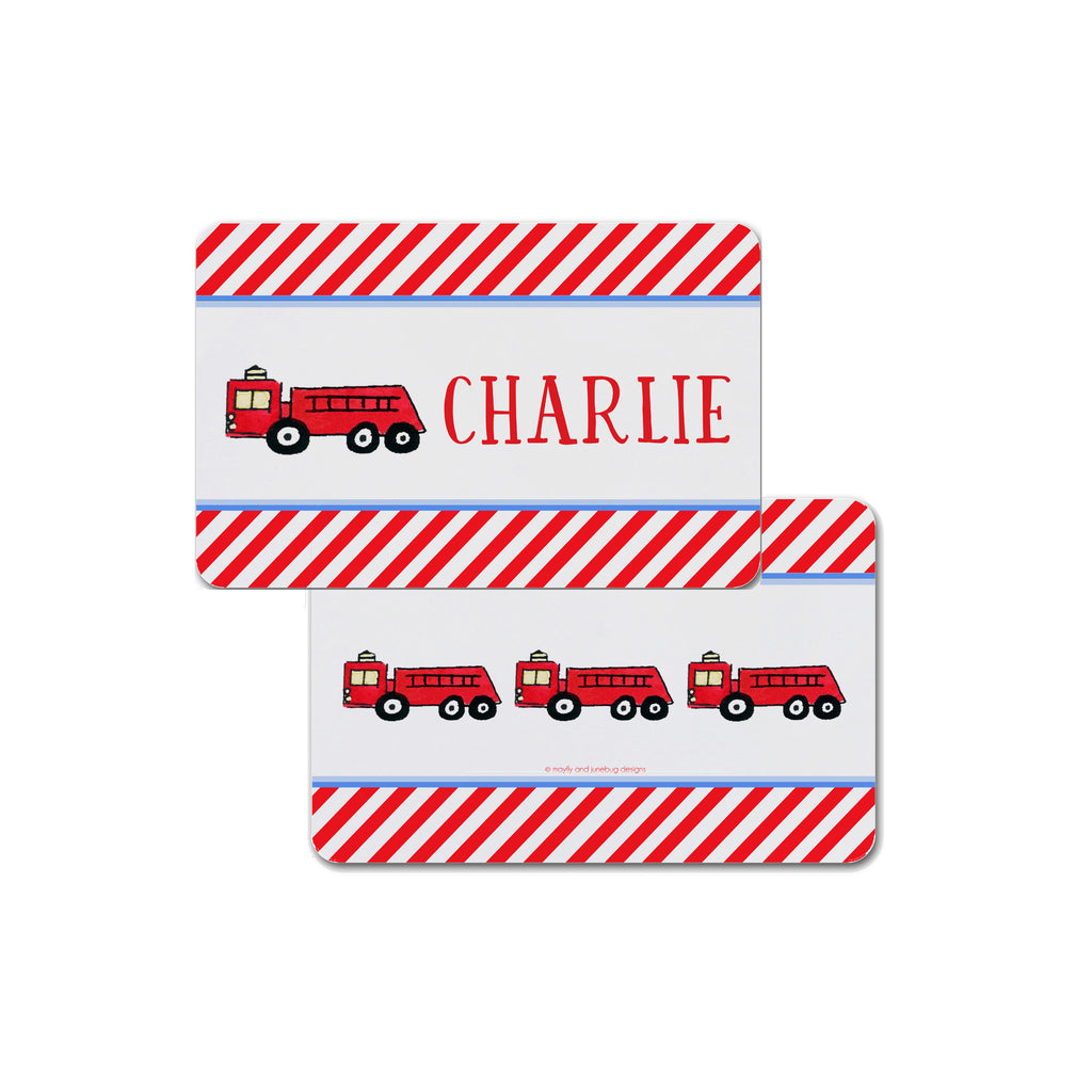 firetruck fire truck placemat personalized for kids