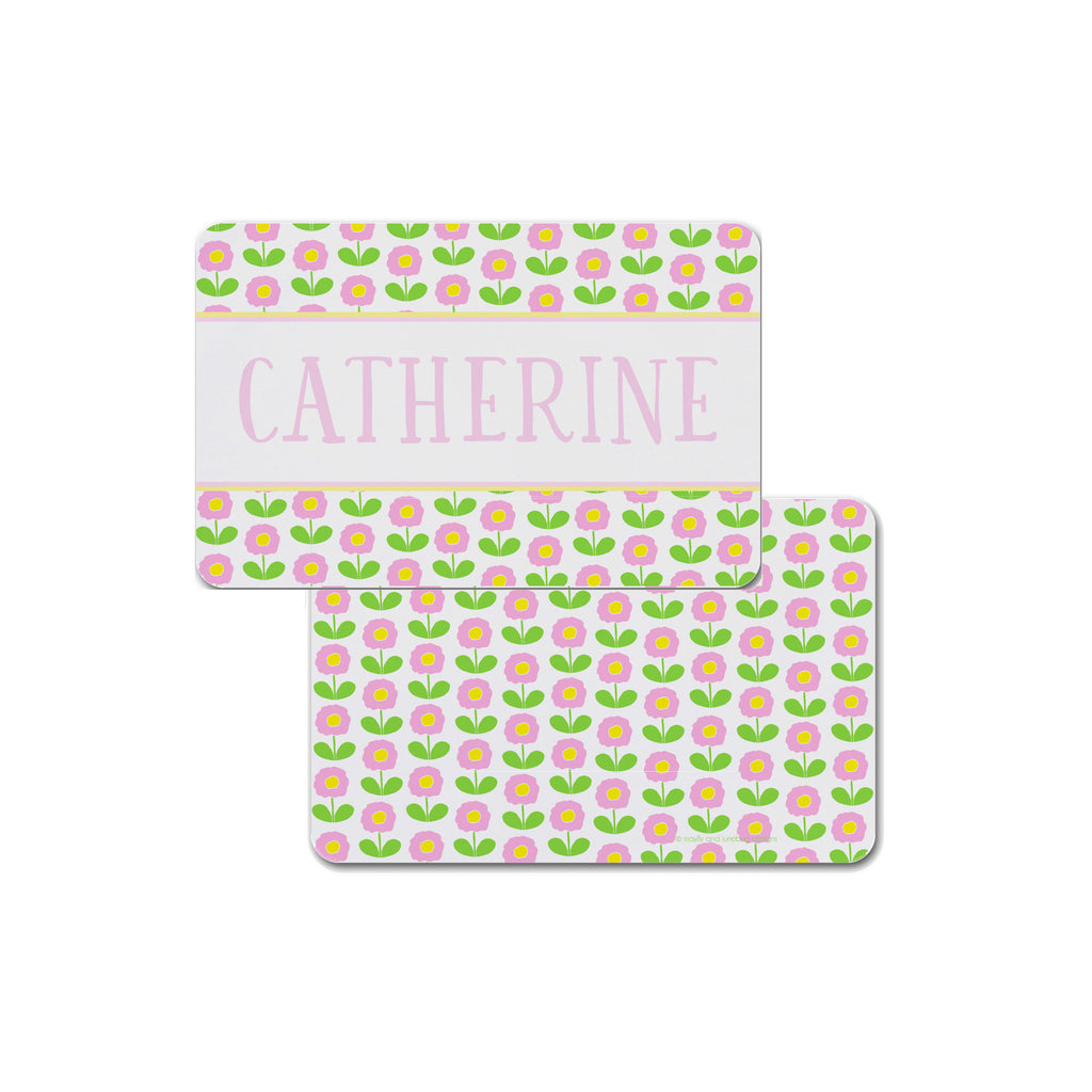 girls personalized placemat with flowers