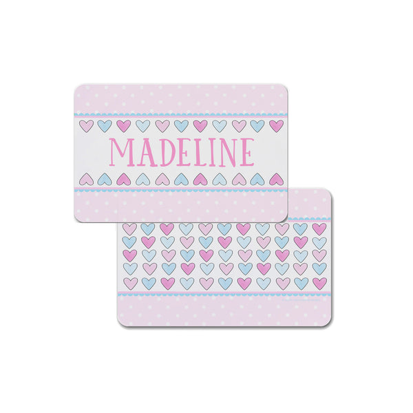 Hearts Personalized Placemat Place mat Valentines for Kids