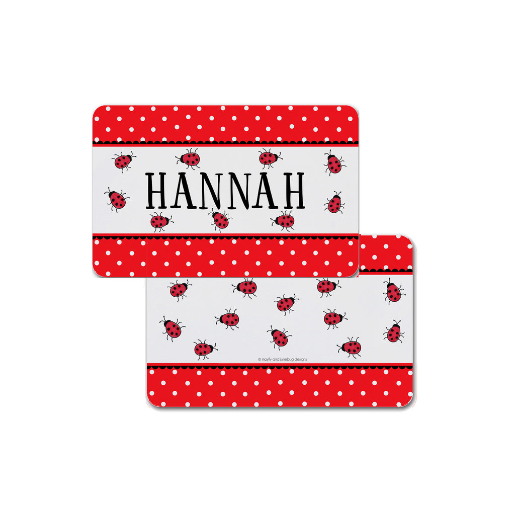 lady bugs personalized placemat for kids girls