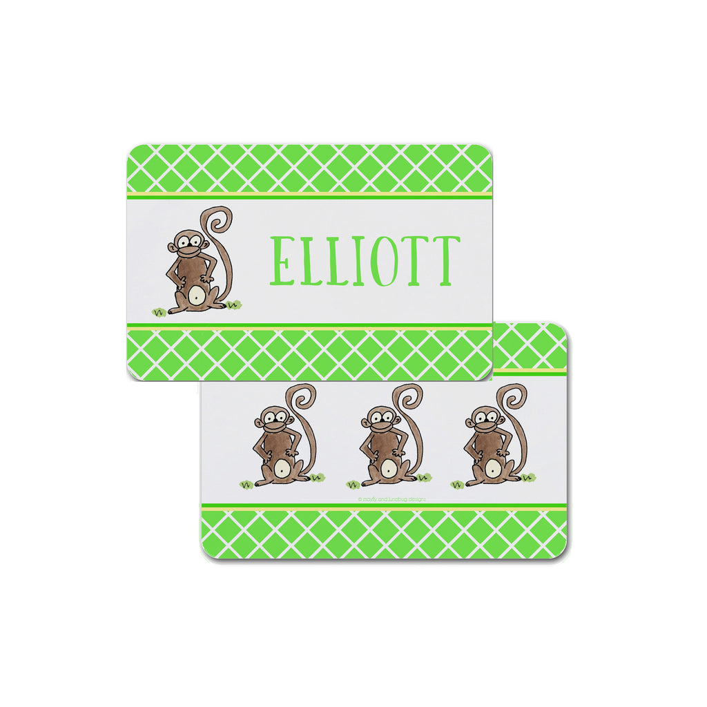 monkey placemat personalized for kids