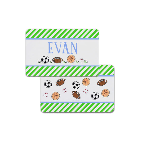 sports balls placemat personalized for kids