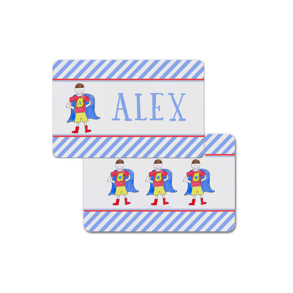 super hero personalized placemat for boy kids place mat