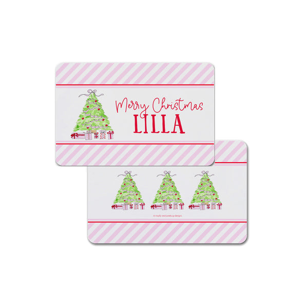 Christmas Tree with Presents Personalized Kids Placemat in Pink and Red