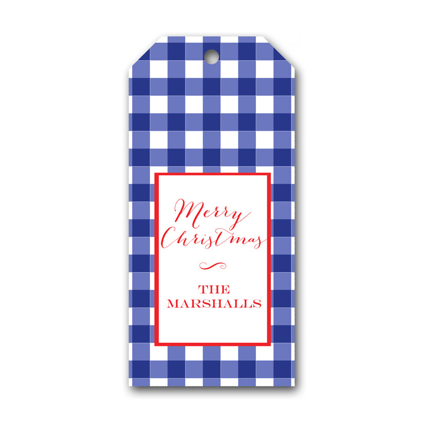 Blue Check Holiday Gift Tag by Mayfly and Junebug Designs
