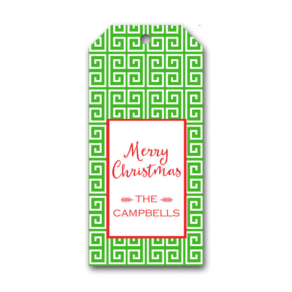 Green Greek Key Holiday Gift Tag by Mayfly and Junebug Designs