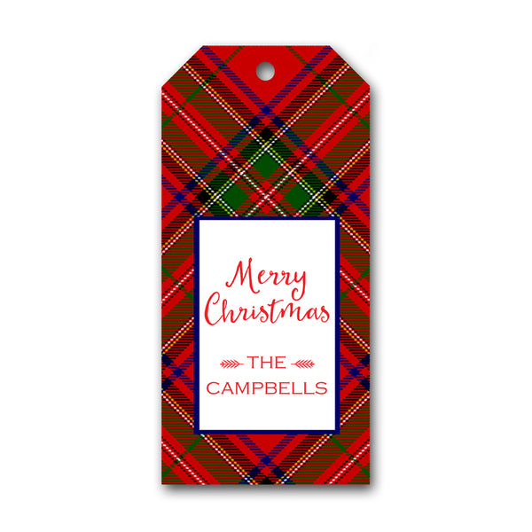 Red Plaid Holiday Gift Tag by Mayfly and Junebug Designs