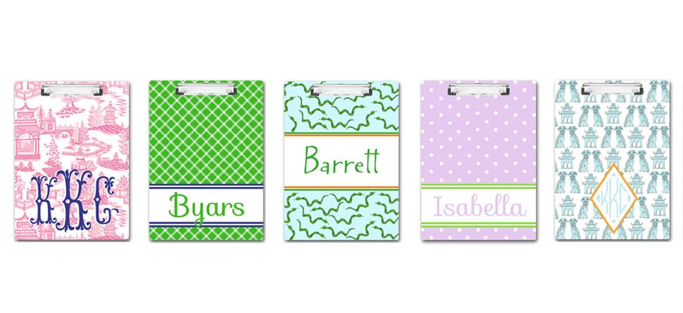 Personalized Clipboards by Mayfly and Junebug Designs