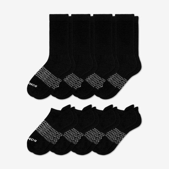 black Men's Solids Calf & Ankle Eight-Pack