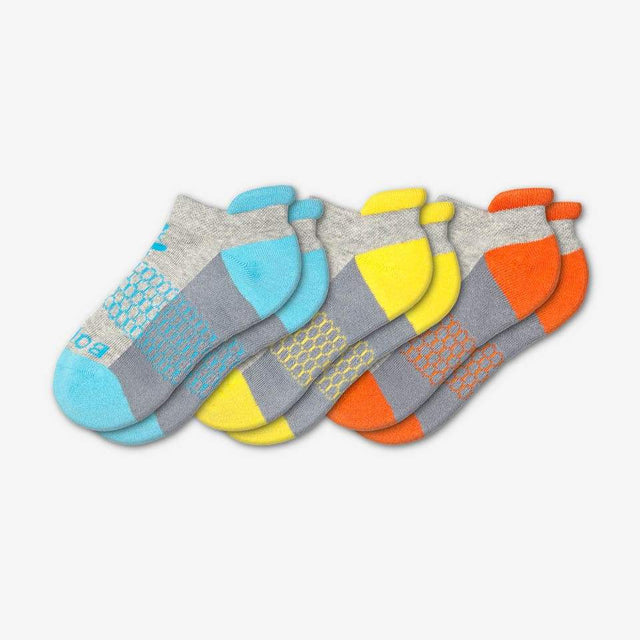 cyan-yellow-orange Youth Ankle 3-Pack